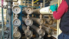 Pressure vessels in a reverse osmosis unit in Turkey are loaded with Lewabrane RO membrane elements from Lanxess. Photo: Burkut.