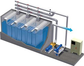 An illustration of  a typical ZeeWeed 500 drinking  water treatment train as used by  Seekonk Water District.
