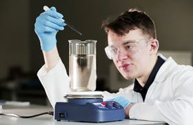 Research scientist Daniel Clow, part of the G2O Water Technologies team, at work in its new laboratory at NETPark in Sedgefield.