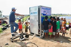 The partnership provided water to the local community after the Lombok earthquake in Indonesia.