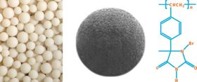 Figure 1. Porous polystyrene beads are derived by in situ synthesis of heterocyclic rings on each styrene unit that can be charged with halogen atoms (at X1, X2) to create N-halamines.