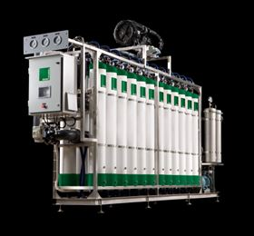 MANN+HUMMEL ultra filtration equipment with a performance of 50 m³/h. Typical uses are the filtration of ground or surface water in drinking water and industrial process water applications.