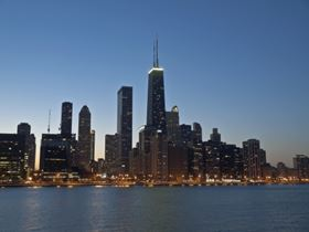 Chicago on Lake Michigan: policies have been established to protect such natural assests as the Great Lakes.