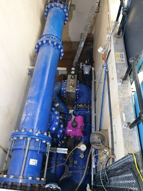 The modified filter outlet pipework at Mosswood after the compact Wafer UV system had been installed.