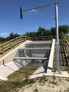 Flood control structure with Hydro-Brake Flood and Hydro-Logic Smart Monitoring at Much Wenlock.
