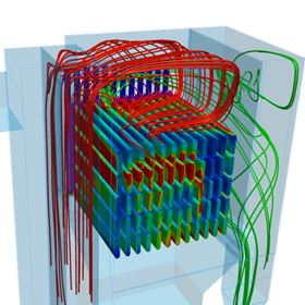 Simulation of gas flow and filter loading in a filter plant with filter bags.