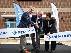 Pentair president and CEO John Stauch, Steve Risner senior director of Technology, and Phil Rolchigo, CTO, cut the ribbon at the opening of the company's new innovation centre in Apex, North Carolina (Photo: Pentair).