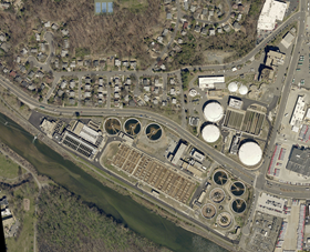 An aerial view of the Arlington County Water Pollution Control Bureau (WPCB) plant where De Nora's technology has been in place for 10 years.