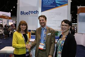 Paul O'Callaghan, chief executive, BlueTech Research with Eileen O'Neill, executive director, Water Environment Federation (l) and Erin Partlan, research analyst, BlueTech Research.