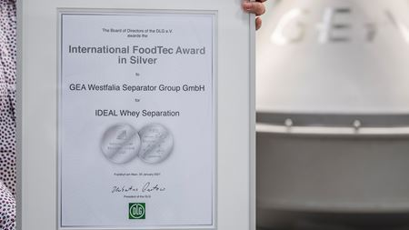 GEA wins award for whey separation concept