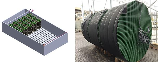Fluence's first SUBRE unit (left), manufactured in December 2016, and the design of SUBRE units installed in an existing aeration basin (right).