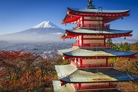 Mt Fuji and pagoda during the fall season in Japan. Image courtesy of Sean Pavone/Shutterstock.com.