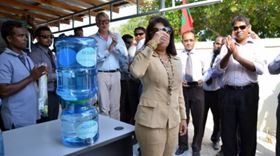 I'll drink to that: Guhli welcomes the desalination unit.