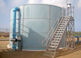 A Berson InLine UV disinfection system installed on one of Aruba's drinking water storage tanks