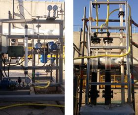The brine desalter test bench. Early pilots of MAXH2O have shown an increased brine recovery of up to 98%.