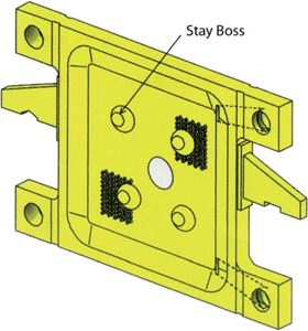 Filter plate with stay bosses.