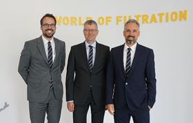 Left to right: Christopher Heine (CEO), Dr Thomas Netsch (group vice president of Industrial Filtration), and Jens Röttgering (owner and chairman of the board).