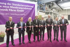 Cutting the ribbon at the opening of Evonik's new membrane plant in Schörfling, Austria.